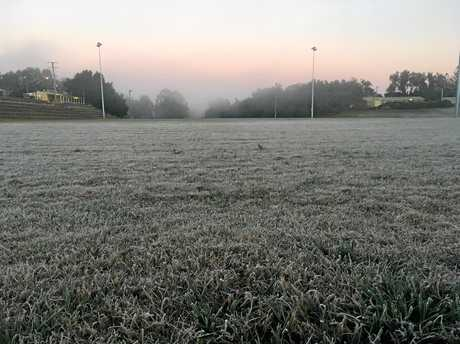 Frost blankets Albert Park in Gympie at 6am Wednesday morning