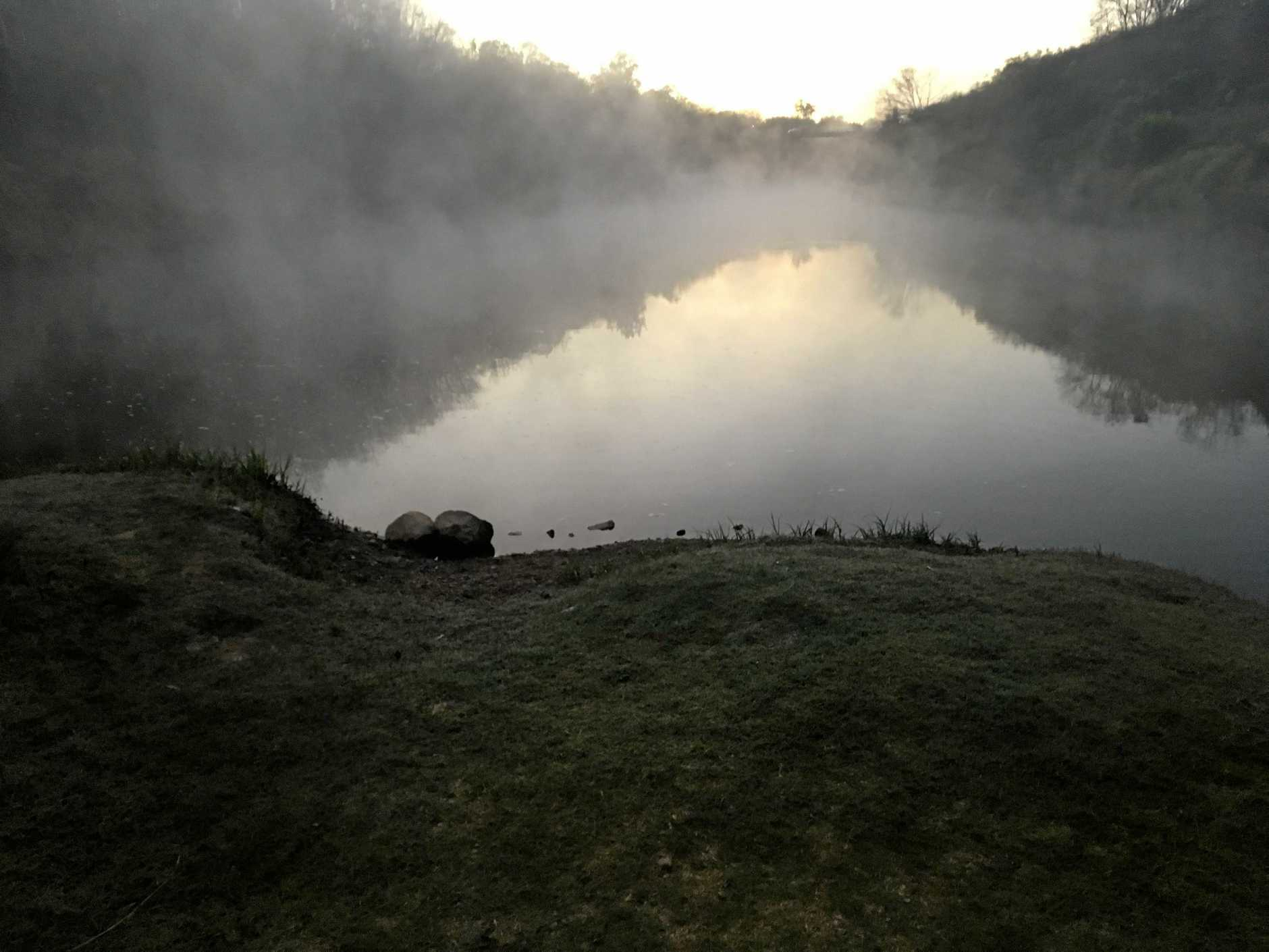 The Mary River was swirling with fog as below zero temperatures hit Gympie on Wednesday morning.