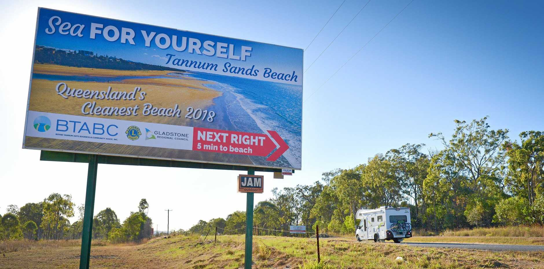 EYE CATCHING: The new billboard 700m south of the Tannum Sands Rd turn off.