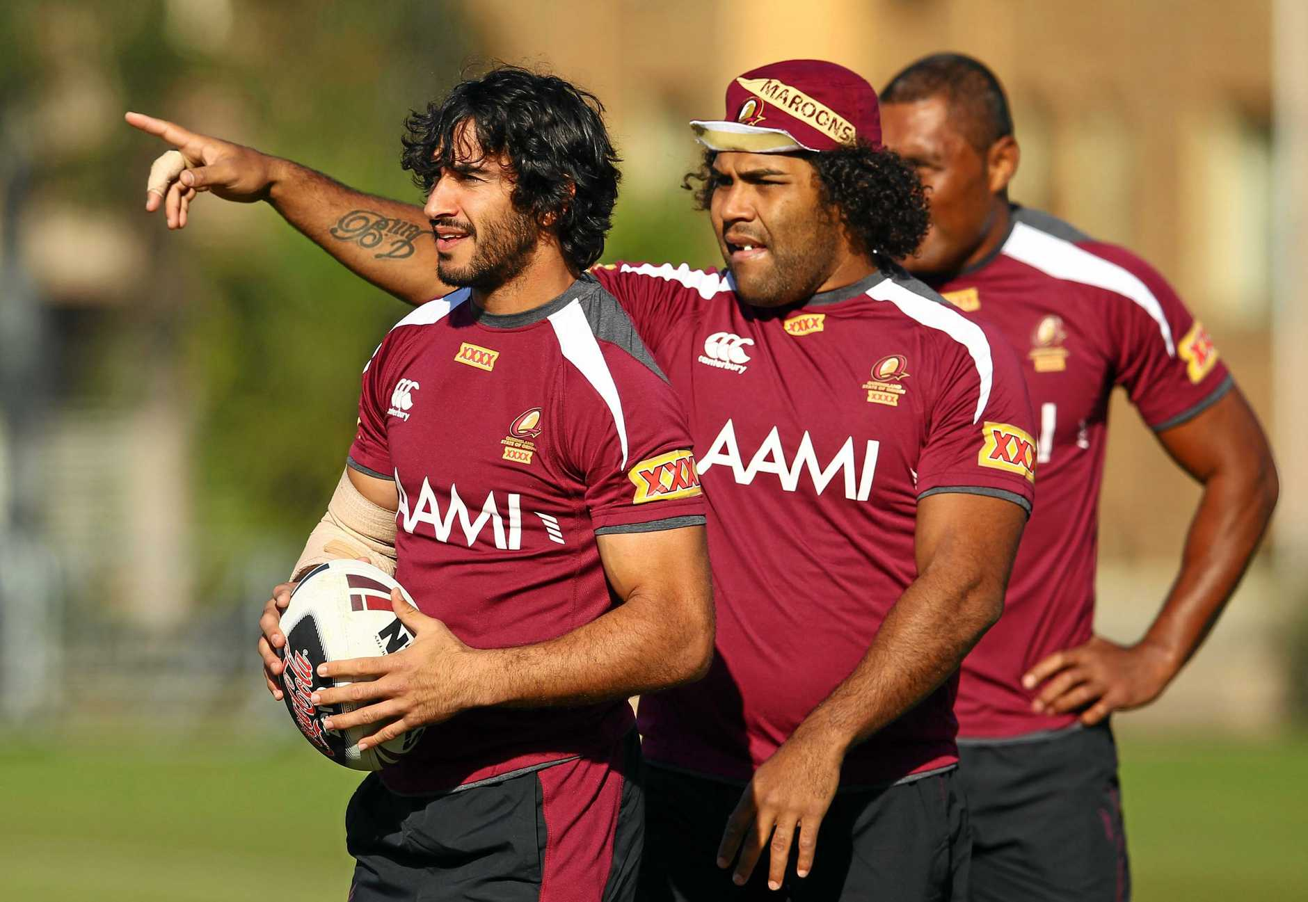 Johnathan Thurston and Sam Thaiday look on during a Queensland State of Origin training session in Melbourne in 2012. Picture: Robert Cianflone/Getty Images
