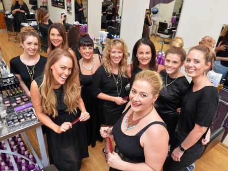 Hair Review, Mary Street, Gympie.   At front right is salon manager Jamie Jack with staff from left, Jodie Tompkins, Georgie Harris, Stacey Christenson, Jess Irwin, Somma Turner, Olivia Harney, Leah Prince and Natalia Garman.       Photo: Greg Miller / Gympie Times