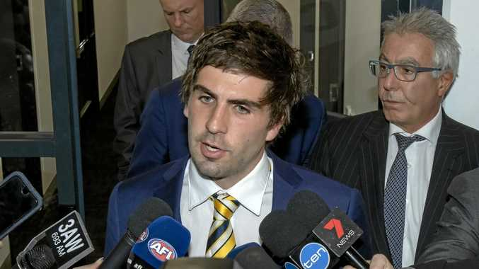 VIOLENT ACT: West Coast Eagles midfielder Andrew Gaff addresses the media after appearing at the AFL tribunal at AFL House in Melbourne.  He recieved an eight-game ban over his punch that broke young Dockers player Andrew Brayshaw's jaw.