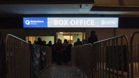 Some fans had already arrived at Qudos Bank Arena when Mondays show was cancelled. Picture: AAP