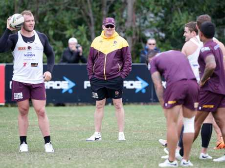 Anthony Griffin oversees Broncos training at Red Hill in 2014. Picture: Liam Kidston.