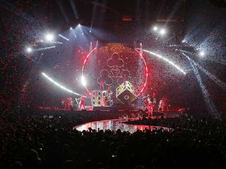 The spectacular stage setting for Katy Perry's Witness show in Brisbane. Picture: Josh Woning/AAP