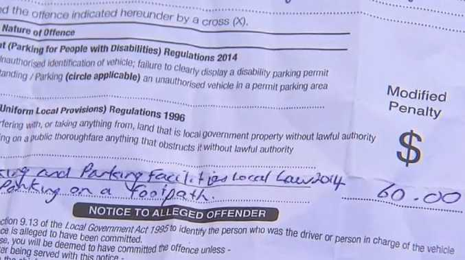She was slapped with a $60 fine for her car's towbar being over the footpath. Picture: Nine News