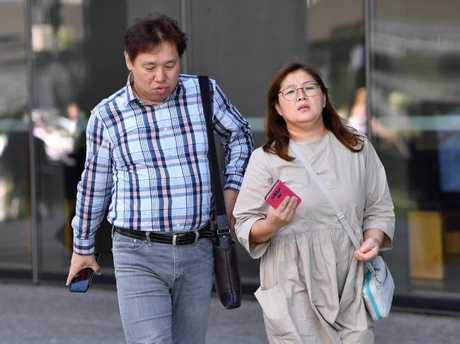The family of murdered Korean student Eunji Ban are seen at the Brisbane Supreme Court in Brisbane, Thursday, October 5, 2017. Picture: Darren England/AAP