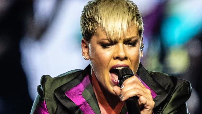 American singer Pink performs in the first Australian concert of her Beautiful Trauma World Tour at Perth Arena in Perth, Tuesday, July 3, 2018. Pink will perform in Perth, Adelaide, Melbourne, Sydney and Brisbane during a 35-date Australian tour. Picture: AAP