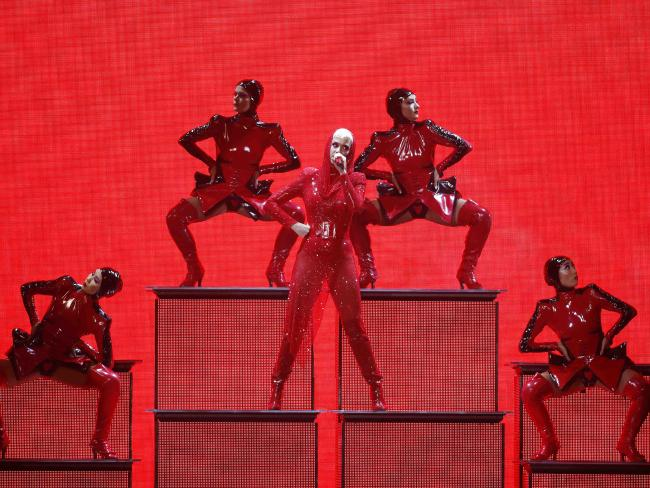 Katy Perry and her dancers in action in Brisbane. Picture: Josh Woning/AAP