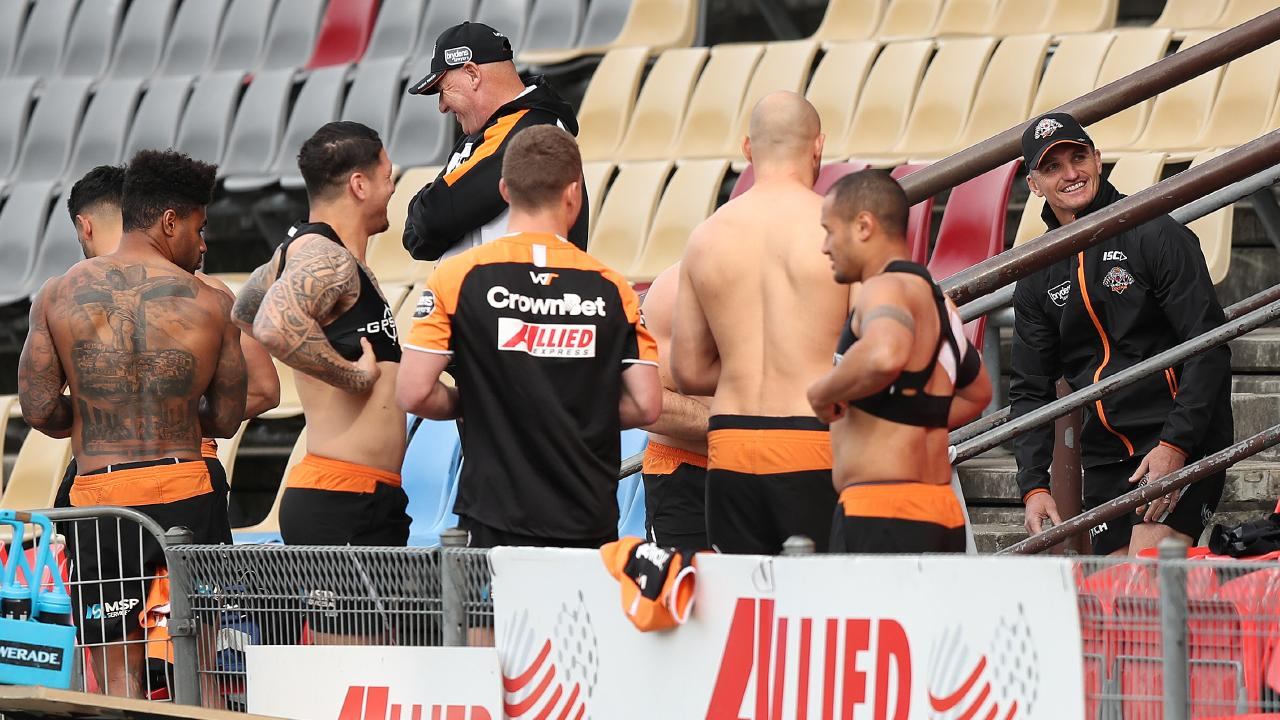 Wests Tigers coach Ivan Cleary with his players at training following the news the Panthers are trying to lure him back to the club. Picture: Brett Costello