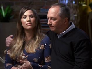 A screen-grab taken from Channel 7's Sunday Night program, featuring an interview with former deputy prime minister Barnaby Joyce and partner Vikki Campion, televised on Sunday, June 3, 2018. (AAP Video/Supplied/Channel 7) NO ARCHIVING, EDITORIAL USE ONLY