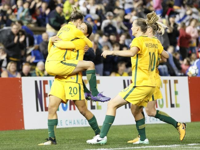 The Matildas took down Brazil in front of 16,800 fans at McDonals Jones Stadium in 2017. Pic: AAP