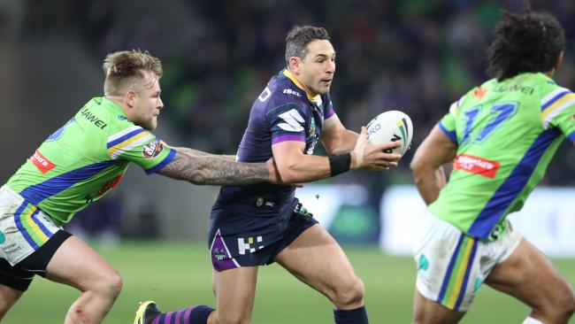 Billy Slater on the charge against the Raiders. Picture: AAP