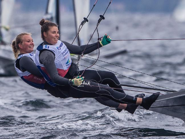 Natasha Bryant and Annie Wilmot have impressed in their first combined world championship regatta. Pic: Jesus Renedo