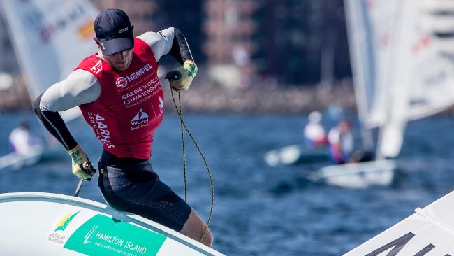 Matt Wearn has raced into first place in the Laser regatta at the world sailing championships. Pic: Jesus Renedo/Sailing Energy