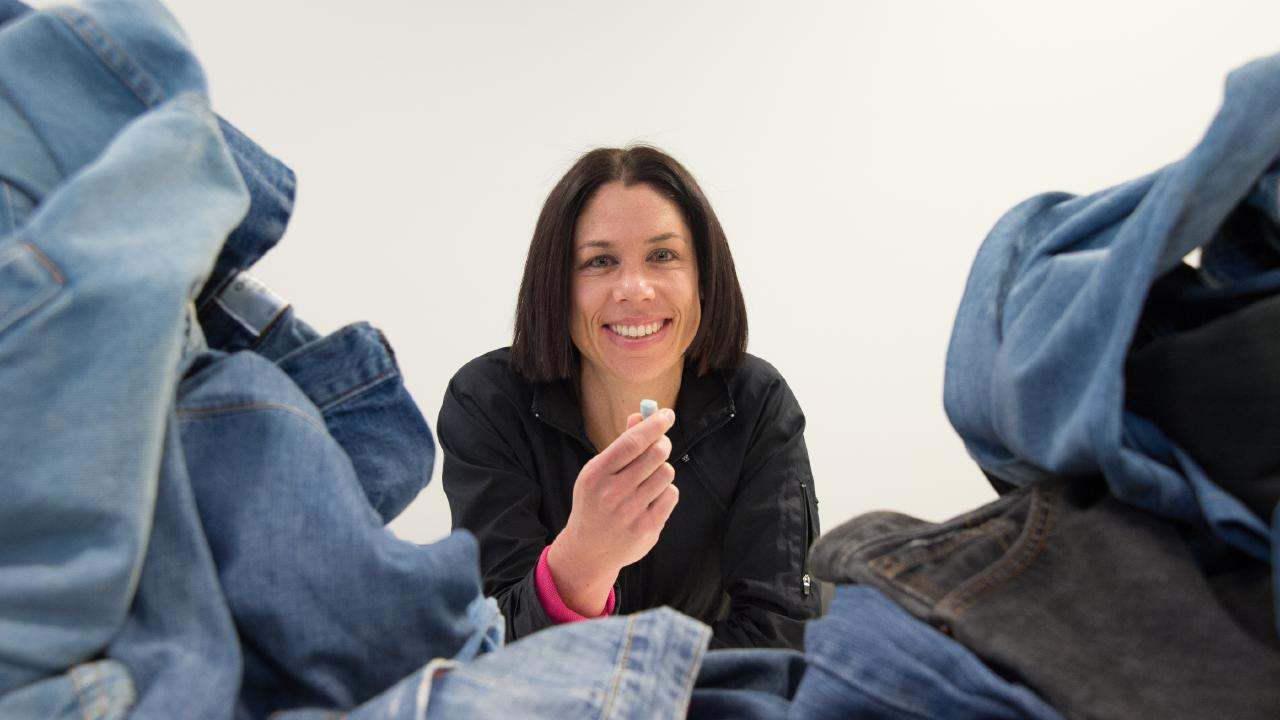 Deakin Institute for Frontier Materials researcher Dr Nolene Byrne is working on an exceptionally helpful use for old jeans. Picture: Donna Squire/ Supplied