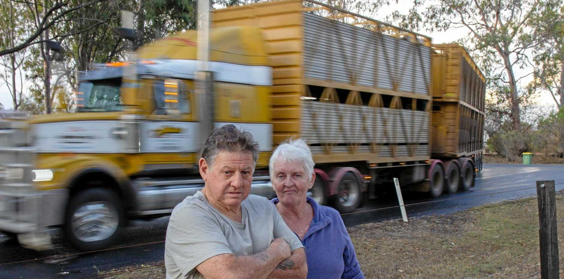 WIT'S END: John and Cathy Gibson say the defective Mahon Bridge that has forced B-doubles to travel past their house almost daily at Veradilla, has ruined their lifestyle completely.