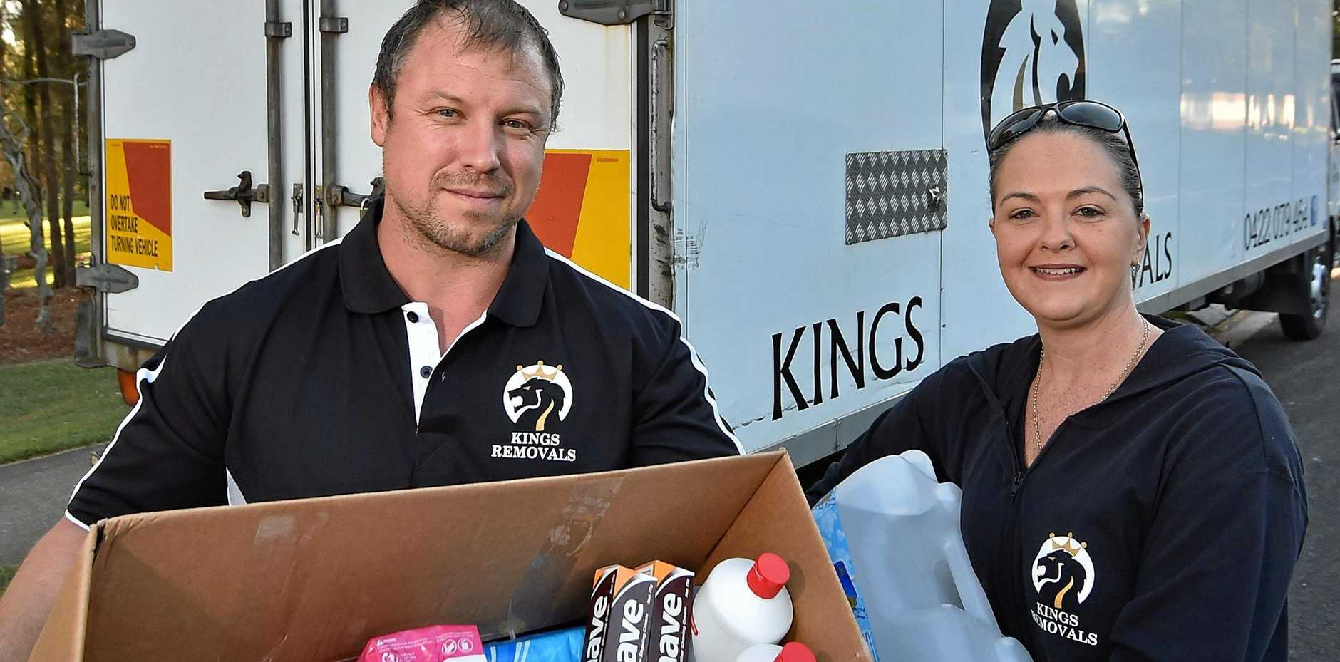 Scott Fouchard and Casey Langton owners of Kings Removals company are doing a donation run out to regional Queensland to help farmers in drought.