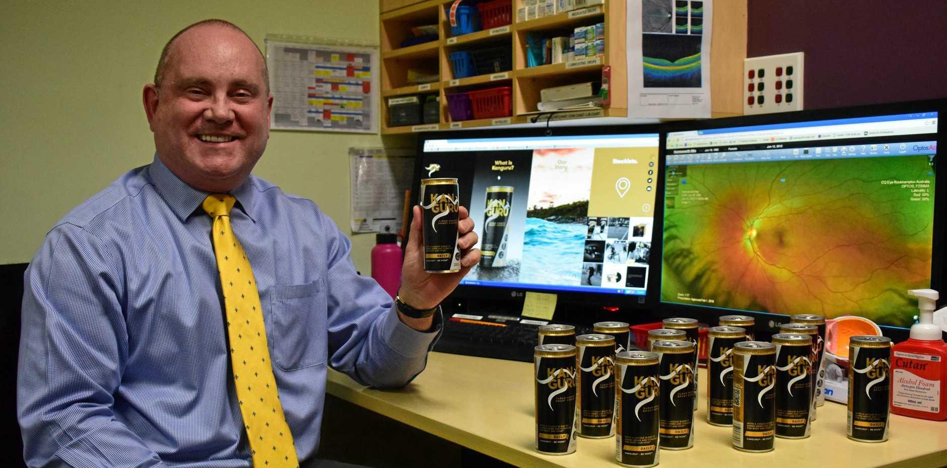 Dr David Kitchen with his alternative energy drink Kanguru.