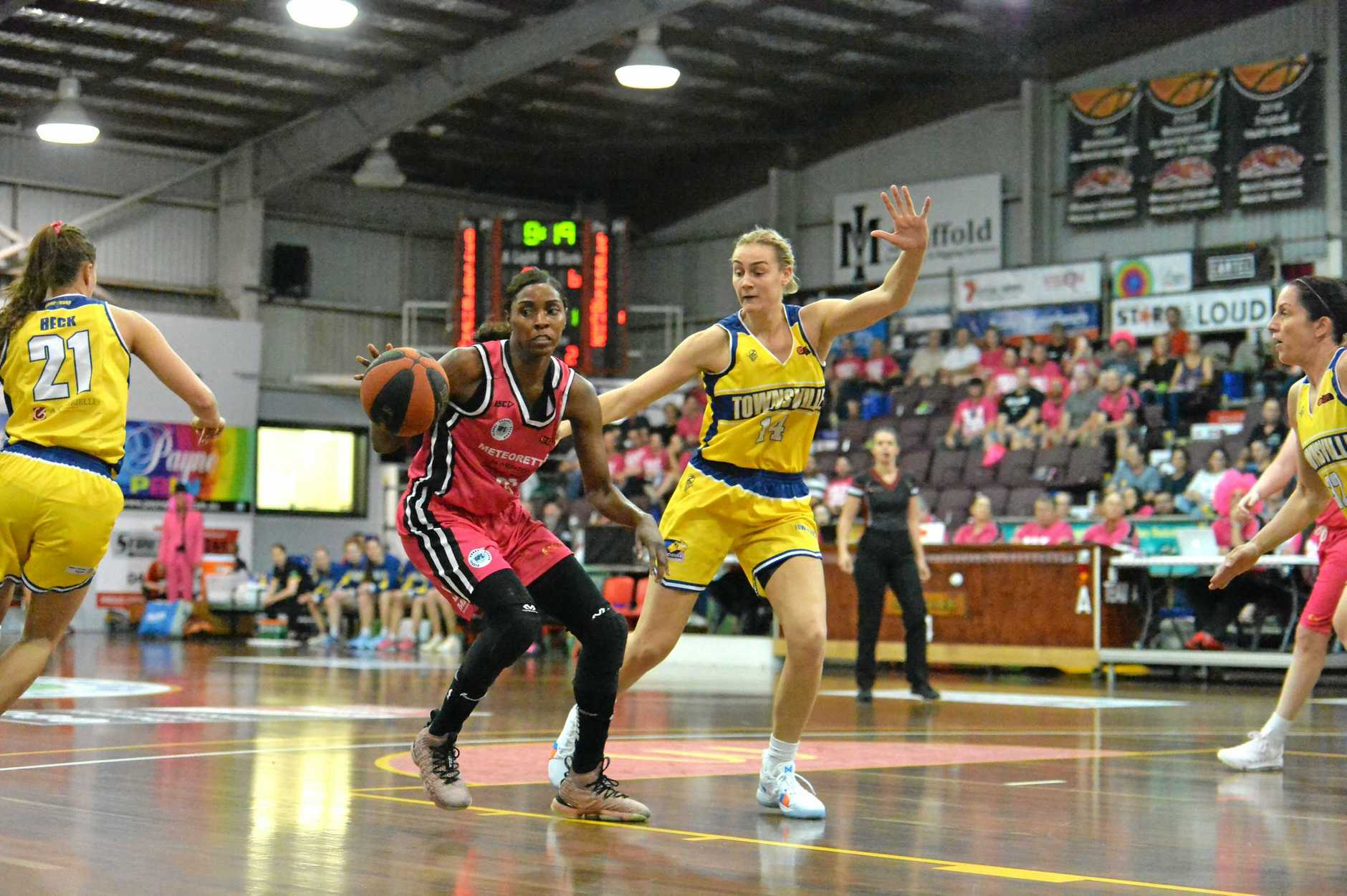 Mackay Meteorettes' Ruvanna Campbell on the drive against Townsville in round 11 of the QBL at the Crater, Mackay on Saturday, July 7, 2018.