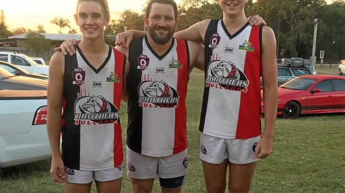 TURNBULL TRIO: Luke, Ben and Joeseph Turnbull played their first game of senior Wide Bay AFL together, a moment that has been more than a decade in the making.