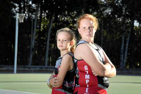 Gympie Netball sisters playing together Caitlin and Jasmine Munn.