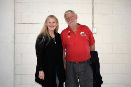 NikKi Stevens who is the Place based Lead for the Red Cross in the Central Wide Bay Burnett Area poses for a photo with Gayndah Red Cross president John Stott after she delivered the key note speech at the Gayndah Red Cross AGM.