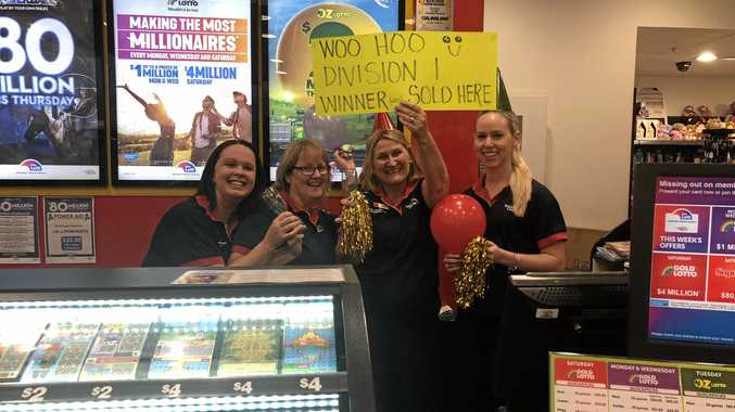 MILLION DOLLAR WINNER: Staff at Nextra Fraser Gateway Newsagency were excited to have made a young Hervey Bay woman a millionaire after selling her a division one winning ticket on Wednesday.