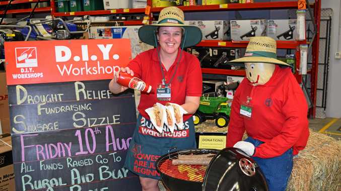 Maryborough Bunnings activities co-ordinator Tam Geritz invites the public to join them for a sausage sizzle to raise funds and awareness for the country's drought-striken farmers.