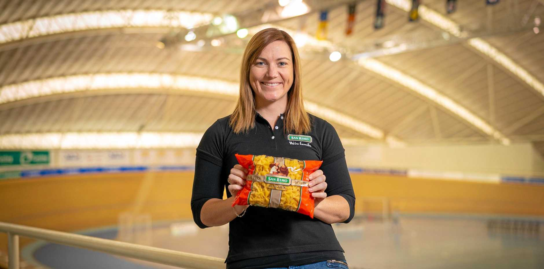 PEDDLING PASTA: Anna Meares is working with San Remo to promote the benefits of having carbohydrates, such as pasta, in your diet.