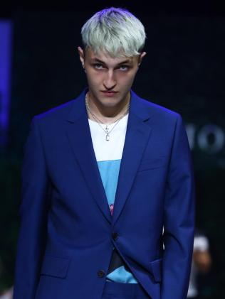 Anwar Hadid looked a little bored on the runway.