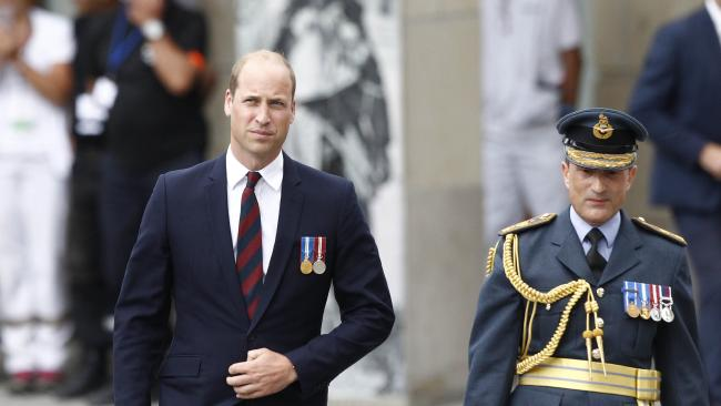 Prince William arrives at the Amiens cathedral, northern France, marking the sombre centenary of the Battle of Amiens. Picture: AP