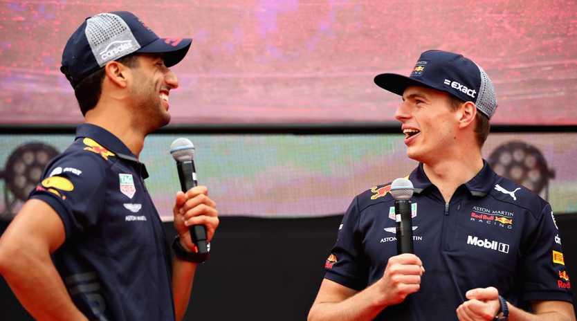 Daniel Ricciardo and Max Verstappen. (Photo by Mark Thompson/Getty Images)