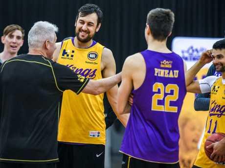 Gaze bantering with Sydney's star recruit Andrew Bogut. Picture: AAP