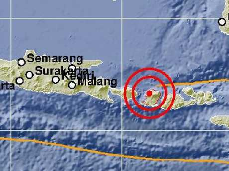 A second earthquake has hit the Indonesian island of Lombok. Picture: Indonesian Meteorological and Geophysics Agency