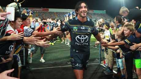 Johnathan Thurston celebrates North Queensland's finals win over the Broncos in 2016.