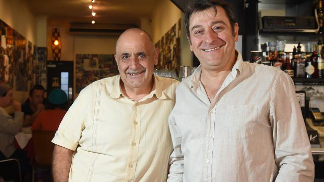 Mario de Pasquale and Mario Maccarone from Marios Cafe say customers should come in and pick up food themselves. Picture: Kylie Else
