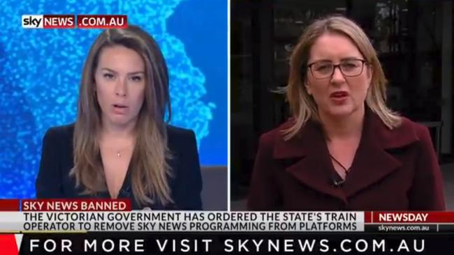 Sky News reporter Laura Jays interviews Jacinta Allan on the Sky ban. Picture: Sky News