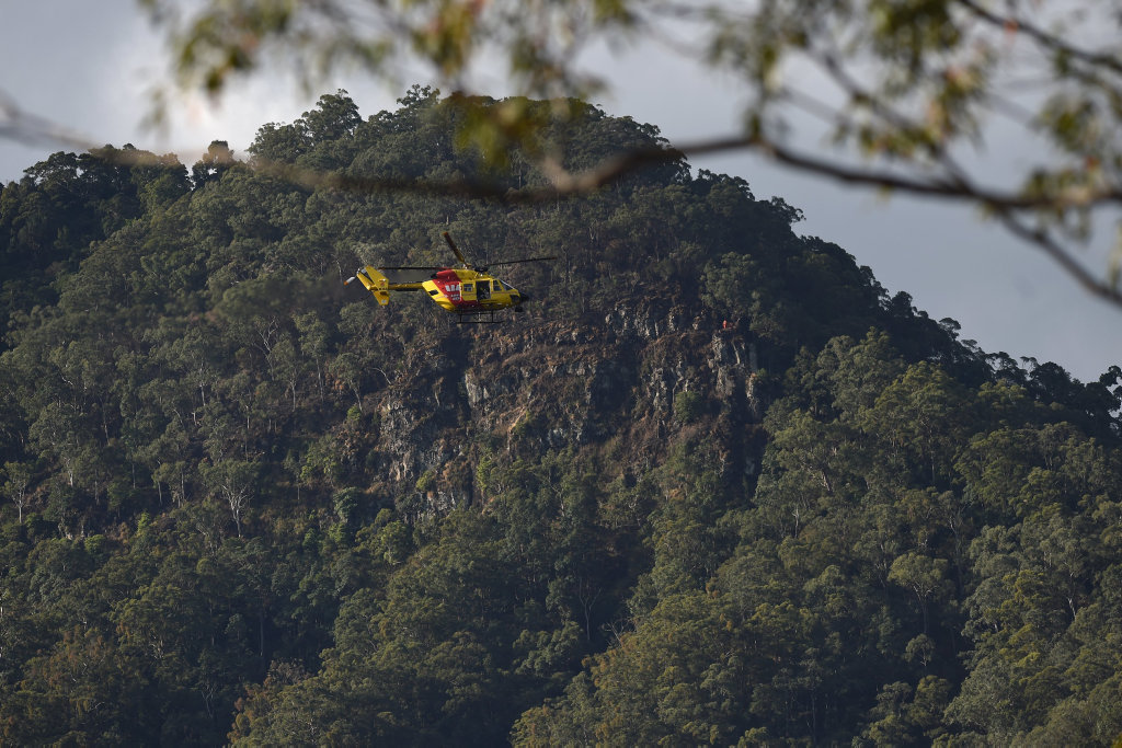 The Westpac Life Saver Rescue will winch crews to the base of a cliff where Mr Roadley's belongings were found on Thursday last week aspart of search efforts to find the missing local. Photo Marc Stapelberg / The Northern Star