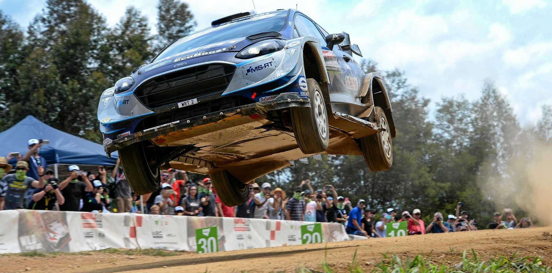 MAKING SPLASH: A bigger jump will thrill spectators on the season-closing Wedding Bells Power Stage.