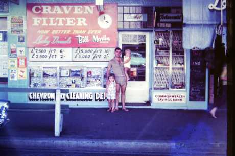 FUTURE WORKPLACE: Michelle Landry (Martin), Bill Martin (father) and Daniel Martin (brother) outside Lucky Daniels Casket Agency (approx. 1965)