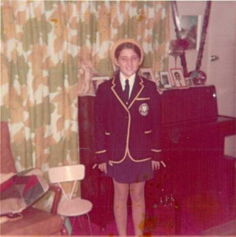 Michelle ready for her first day of high school at Rockhampton Girls Grammar School (approx. 1975).