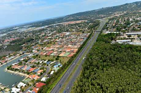 Aerial photographs of the Sunshine Coast. Maroochydore, Buderim. Sunshine Motorway.