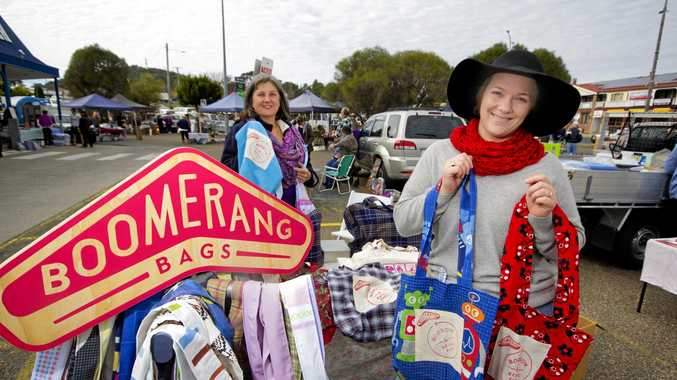 SEW GOOD: Stanthorpe Boomerang Bags co-ordinator Brooke Summerville (right) with Elaine Neilsen.