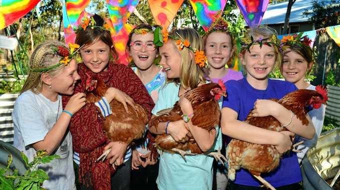 Noosa Pengari Steiner School students Maya Hamilton, Shanti Vogel, Jasmine Charters, Estelle Zoulek, Sophie Durston, Sophie Kennedy and Angelina Luca prepare for the annual Children's Festival.