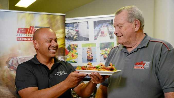 Spare Chef Managing Director Corey de Silva with Corey de Silva with Rally Australia's Clerk of Course Wayne Kenny.