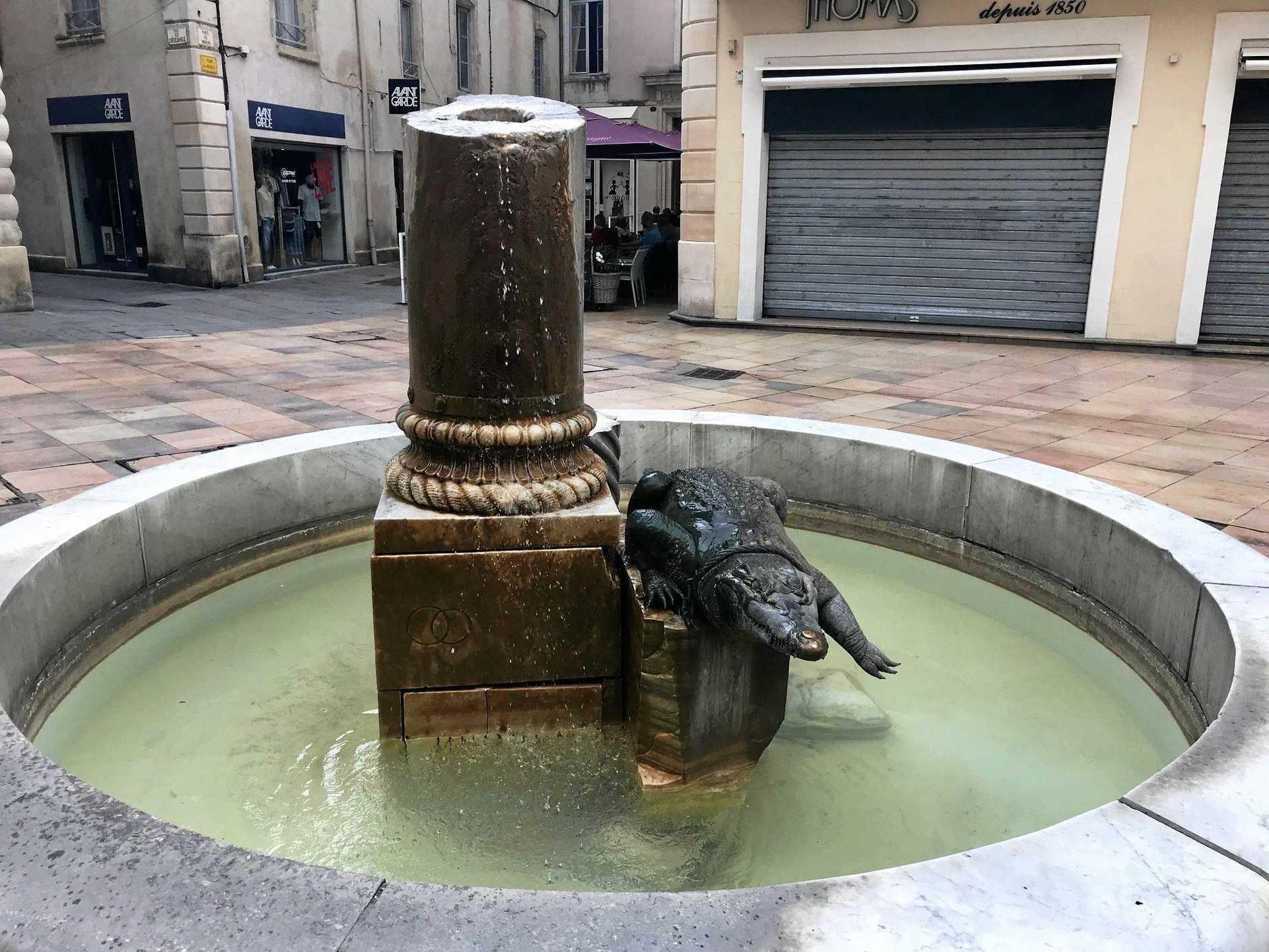 A crocodile sculpture, Nimes.