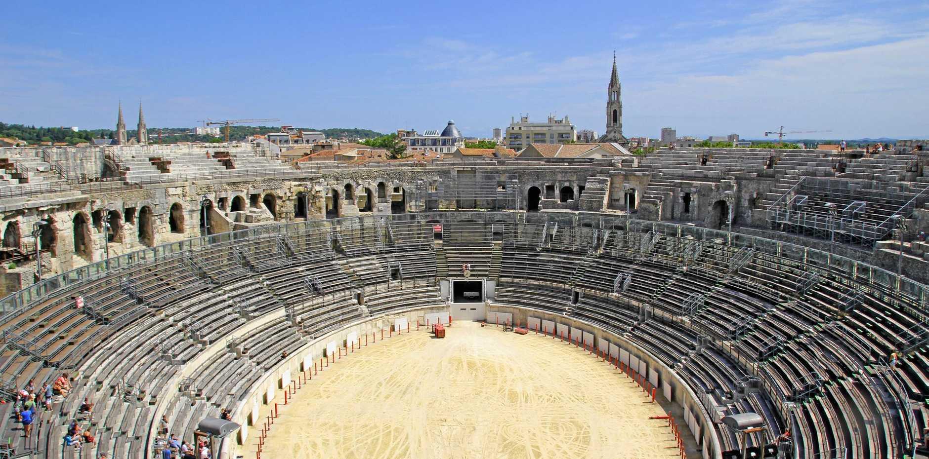 Roman amphitheatre in Nimes, France.