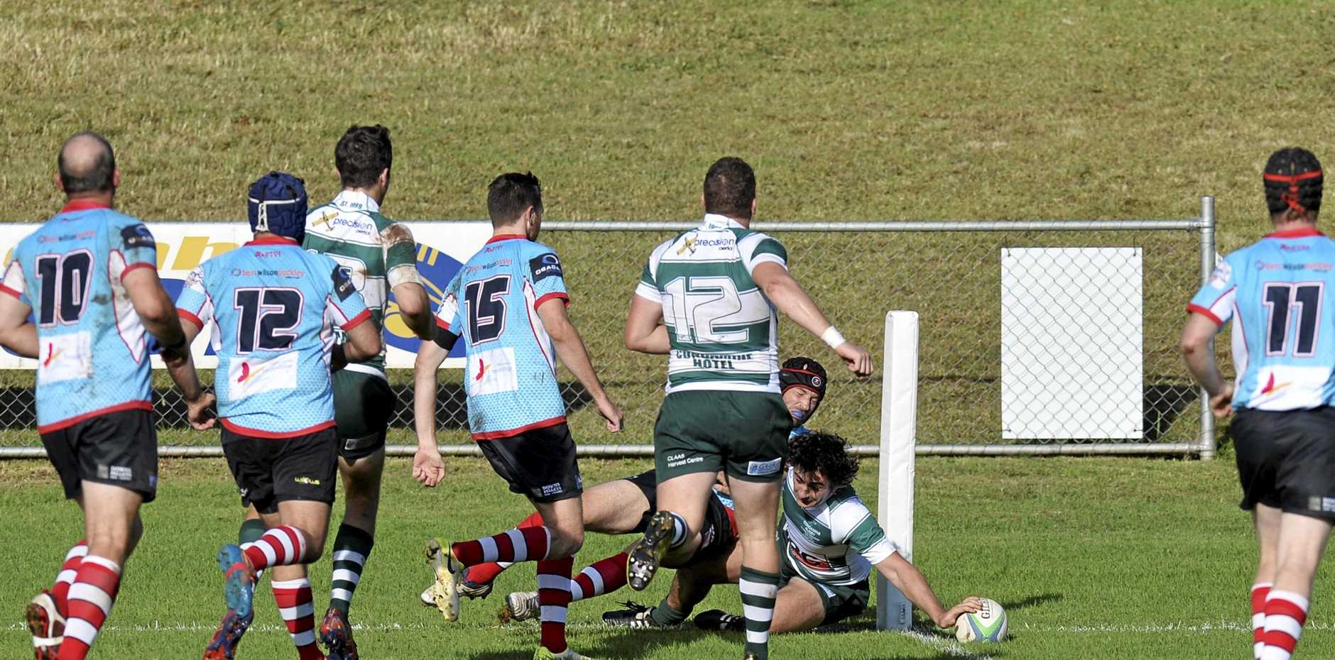 Bill Vary plants the ball for a Condamine try against Toowoomba Rangers during their round-four Risdon Cup match at Gold Park.