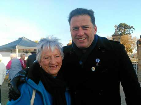 Heather Carey was one of 20 QCWA members to rub shoulders with news celebrity Karl Stefanovic in Leslie Park this morning.